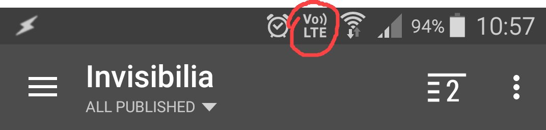 status bar with Vo LTE icon and freehand red circle
